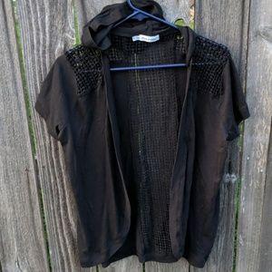 Maurices Black Shrug Cardigan Short Sleeve Hood